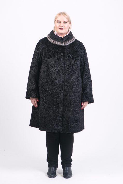 Шуба под каракуль с натуральной нерпой, цвет черный в интернет-магазине Фабрики Тревери