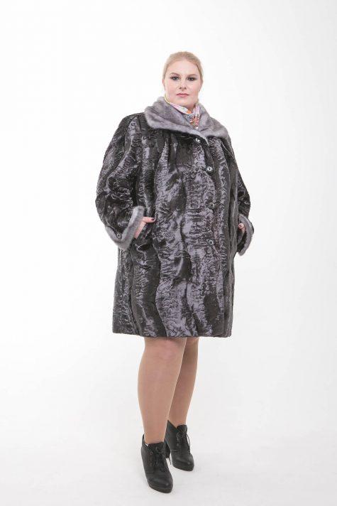 Шуба под каракуль с норкой, цвет серый в интернет-магазине Фабрики Тревери