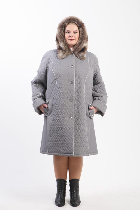 Стеганное пальто с песцом по капюшону, цвет серый в интернет-магазине Фабрики Тревери