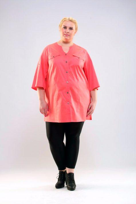 Туника из льна и хлопка, цвет светло-розовый в интернет-магазине Фабрики Тревери