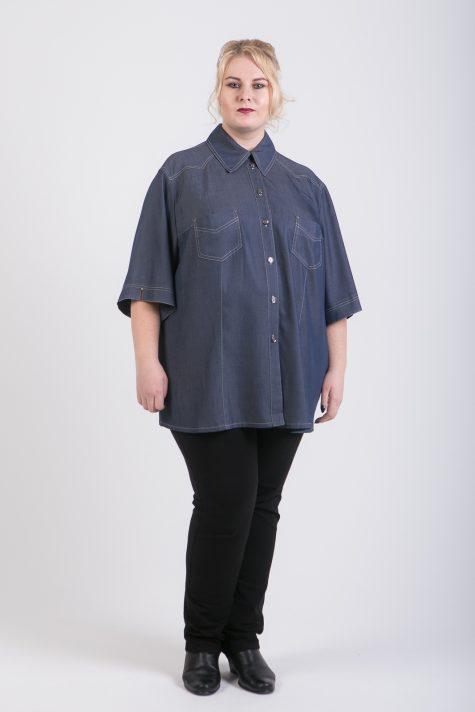 Туника на лето из хлопка, цвет темно-синий в интернет-магазине Фабрики Тревери