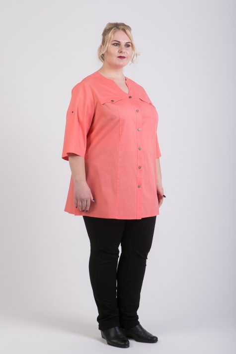 Туника на лето из льна и хлопка, цвет светло-розовый в интернет-магазине Фабрики Тревери