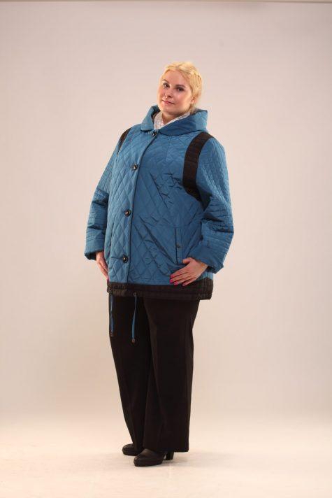 Удлиненная куртка из стежки, цвет бирюзовый в интернет-магазине Фабрики Тревери