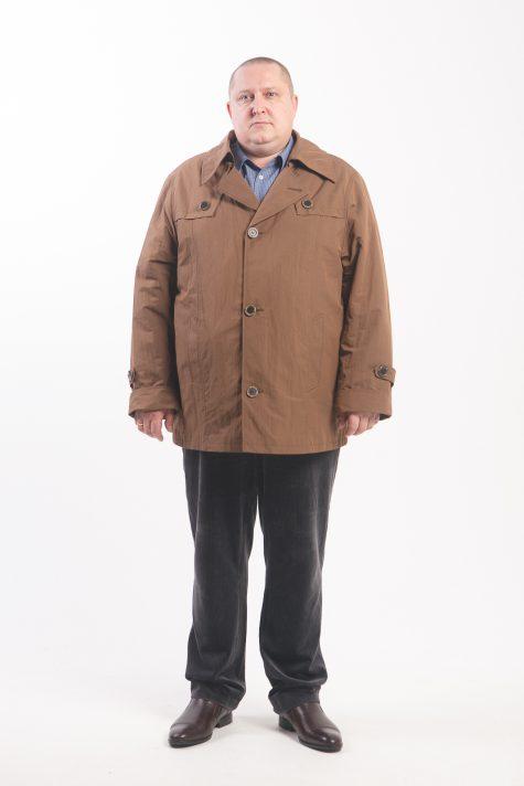 Утепленная мужская куртка тренчкот, цвет коричневый в интернет-магазине Фабрики Тревери