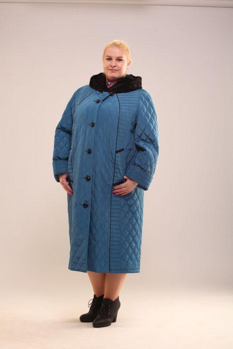 Утепленное стеганное пальто, цвет бирюзовый в интернет-магазине Фабрики Тревери