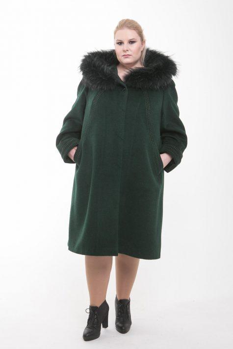 Зимнее пальто из Альпаки с енотом, цвет зеленый в интернет-магазине Фабрики Тревери