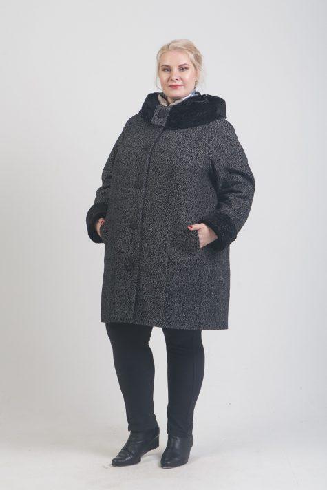 Зимнее пальто из драпа с меховой отделкой, цвет черный в интернет-магазине Фабрики Тревери