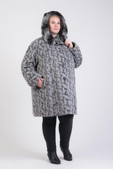 Зимнее пальто из драпа с меховой отделкой, цвет разноцветный в интернет-магазине Фабрики Тревери