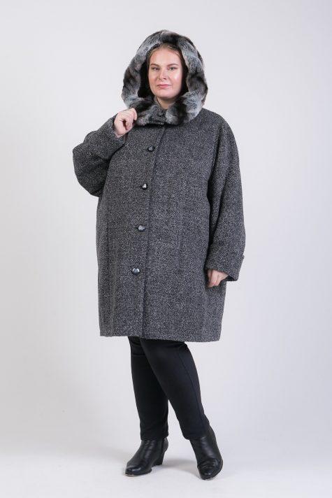 Зимнее пальто из драпа с меховой отделкой, цвет серый в интернет-магазине Фабрики Тревери