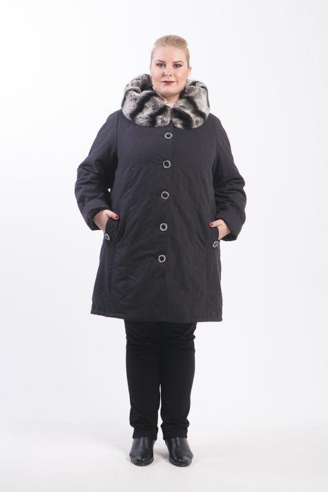 Зимнее пальто на подстежке, цвет черный в интернет-магазине Фабрики Тревери