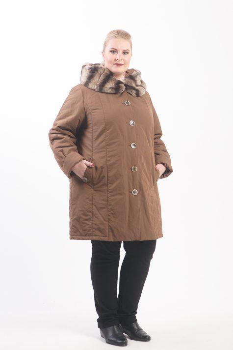 Зимнее пальто на подстежке, цвет коричневый в интернет-магазине Фабрики Тревери