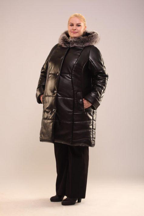 Зимнее пальто-пуховик с песцом, цвет черный в интернет-магазине Фабрики Тревери