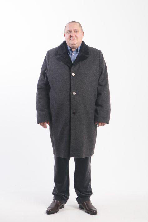 Зимнее пальто с меховым воротником, цвет черный в интернет-магазине Фабрики Тревери
