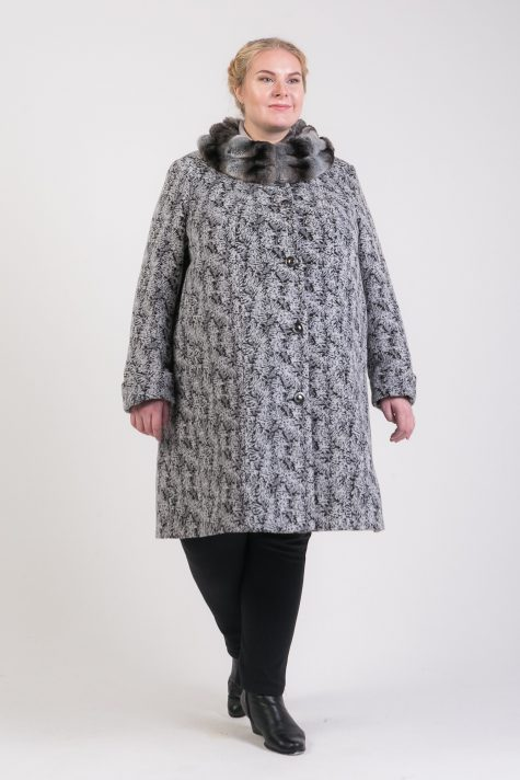 Зимнее пальто с меховым воротником, цвет разноцветный в интернет-магазине Фабрики Тревери