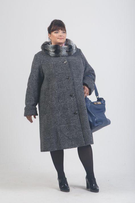 Зимнее пальто с меховым воротником, цвет серый в интернет-магазине Фабрики Тревери