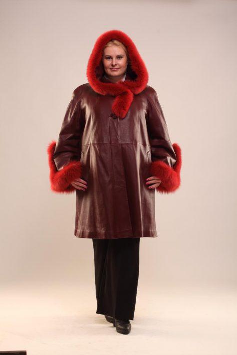 Зимнее пальто трапеция из кожи, цвет бордовый в интернет-магазине Фабрики Тревери