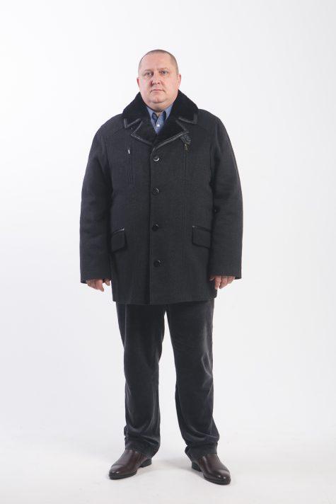 Зимнее полупальто с воротником из овчины, цвет черный в интернет-магазине Фабрики Тревери