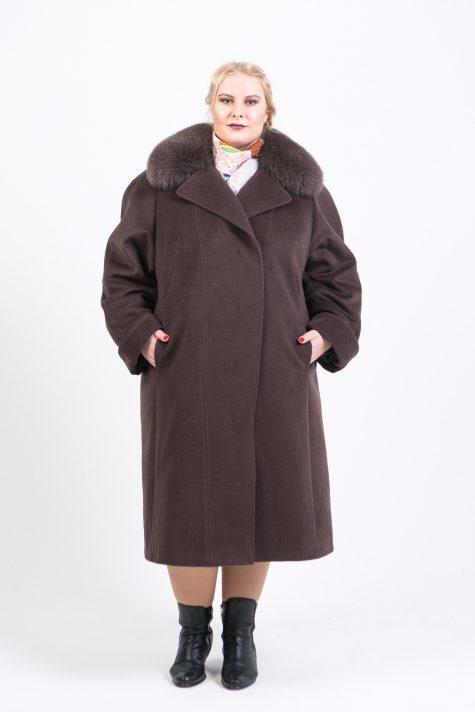 Длинное пальто из драпа Альпака, цвет коричневый в интернет-магазине Фабрики Тревери