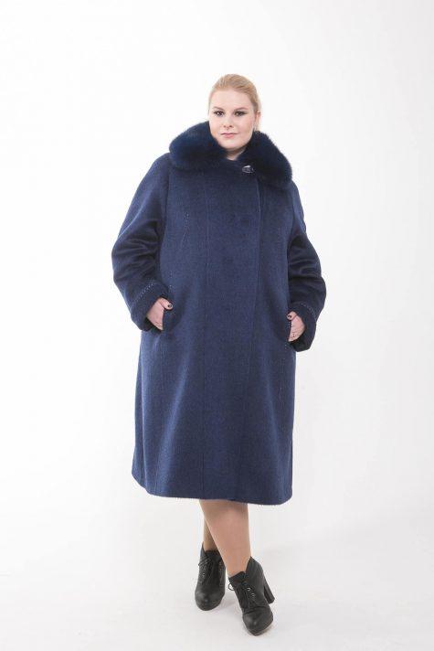 Длинное пальто из драпа Альпака, цвет синий в интернет-магазине Фабрики Тревери