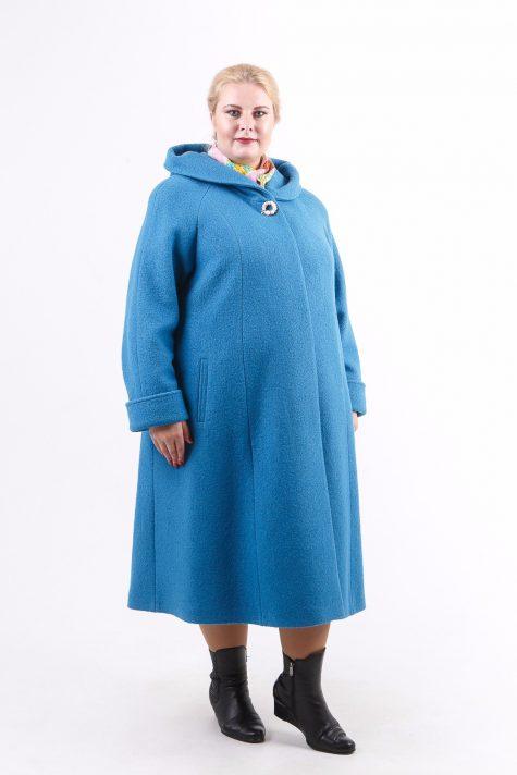 Длинное пальто из драпа варенка, цвет бирюзовый в интернет-магазине Фабрики Тревери