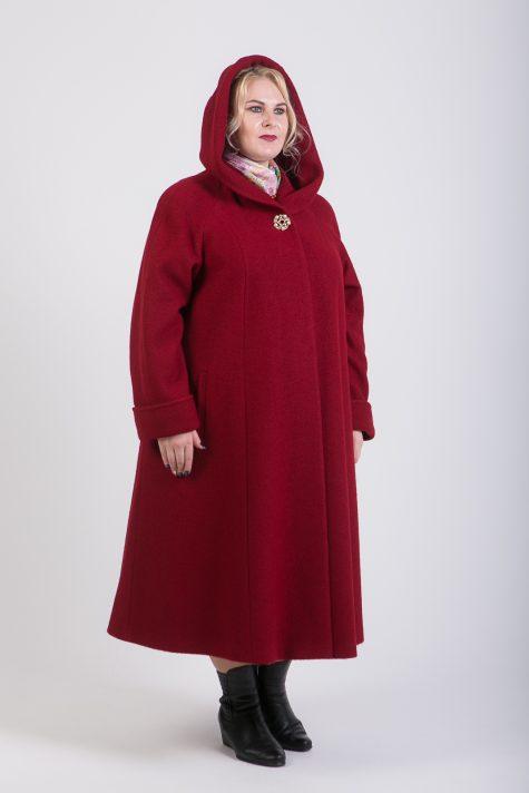 Длинное пальто из драпа варенка, цвет бордовый в интернет-магазине Фабрики Тревери
