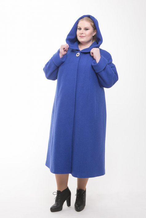 Длинное пальто из драпа варенка, цвет голубой в интернет-магазине Фабрики Тревери
