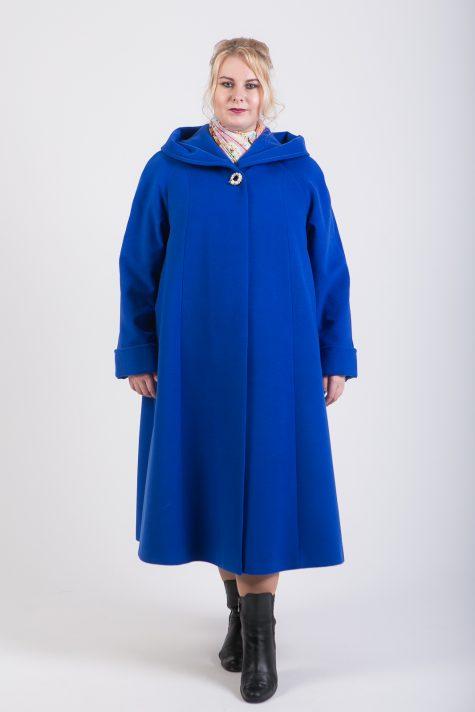Длинное пальто с капюшоном, цвет голубой в интернет-магазине Фабрики Тревери