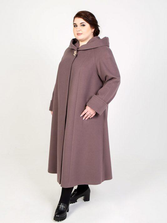 Длинное пальто с капюшоном, цвет коричневый в интернет-магазине Фабрики Тревери