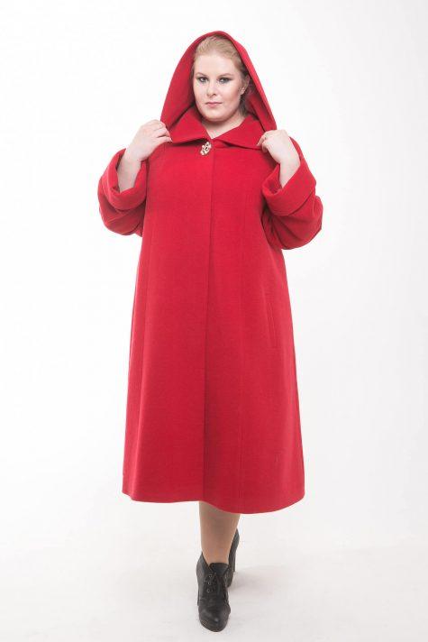 Длинное пальто с капюшоном, цвет красный в интернет-магазине Фабрики Тревери