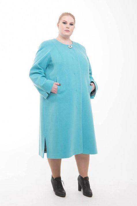Длинное пальто трапеция Шанель, цвет бирюзовый в интернет-магазине Фабрики Тревери