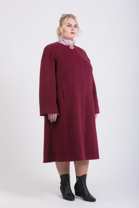 Длинное пальто трапеция Шанель, цвет бордовый в интернет-магазине Фабрики Тревери
