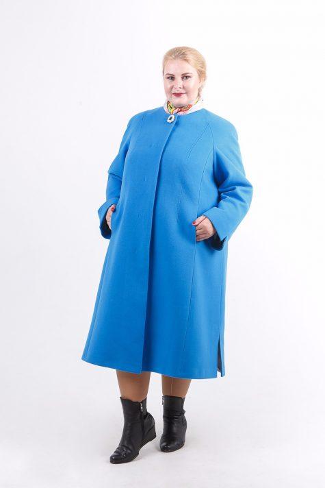 Длинное пальто трапеция Шанель, цвет голубой в интернет-магазине Фабрики Тревери