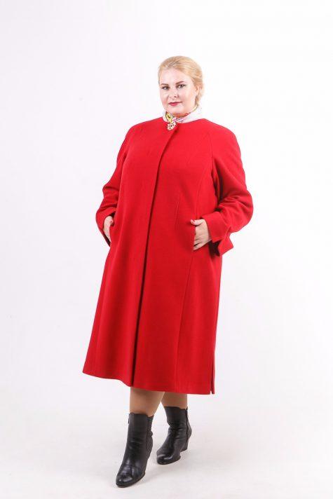 Длинное пальто трапеция Шанель, цвет красный в интернет-магазине Фабрики Тревери