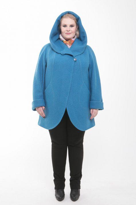 Пальто из драпа варенка, цвет бирюзовый в интернет-магазине Фабрики Тревери