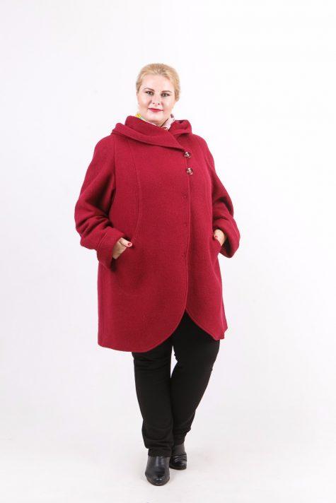 Пальто из драпа варенка, цвет бордовый в интернет-магазине Фабрики Тревери