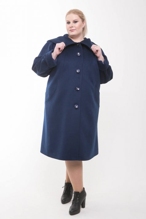 Пальто из ворсового драпа, цвет синий в интернет-магазине Фабрики Тревери