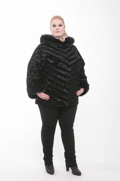 Полушубок летучая мышь, цвет черный в интернет-магазине Фабрики Тревери