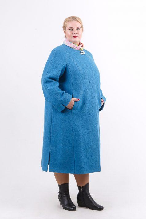 Пальто из шерстяного драпа, цвет бирюзовый в интернет-магазине Фабрики Тревери
