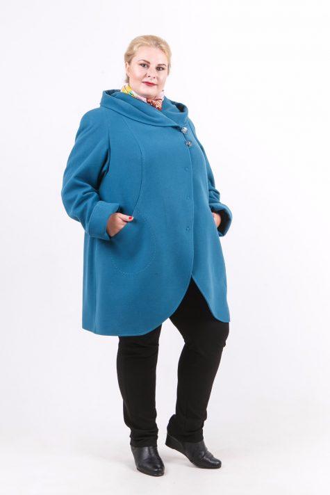 Пальто с рельефами из драпа, цвет бирюзовый в интернет-магазине Фабрики Тревери