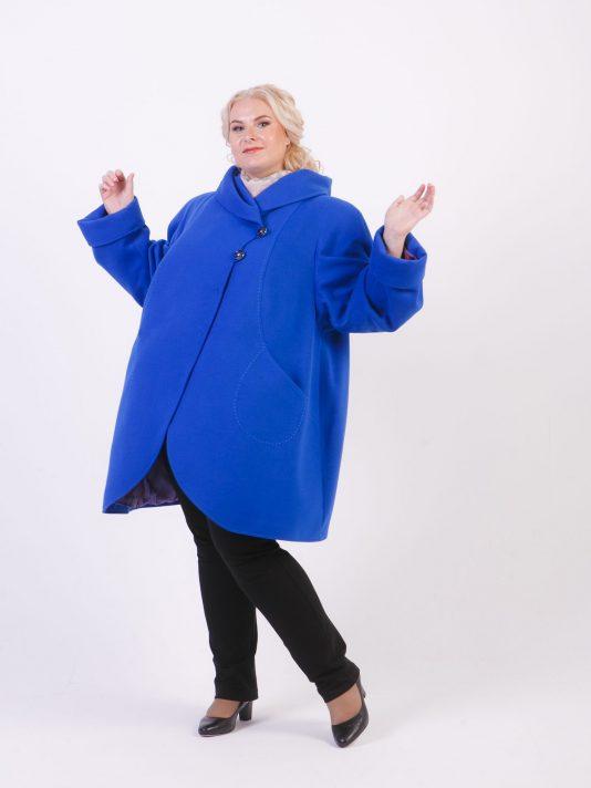 Пальто с рельефами из драпа, цвет голубой в интернет-магазине Фабрики Тревери