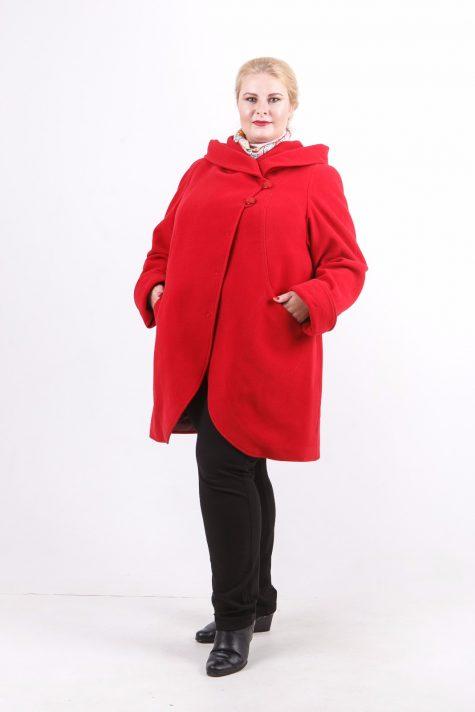 Пальто с рельефами из драпа, цвет красный в интернет-магазине Фабрики Тревери