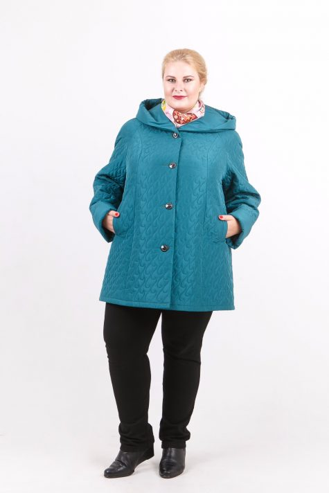 Стеганная куртка трапеция, цвет бирюзовый в интернет-магазине Фабрики Тревери