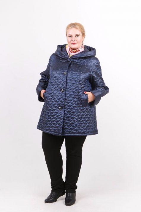 Стеганная куртка трапеция, цвет синий в интернет-магазине Фабрики Тревери