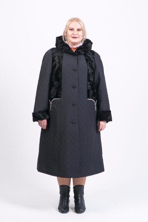 Длинное комбинированное пальто, цвет черный в интернет-магазине Фабрики Тревери