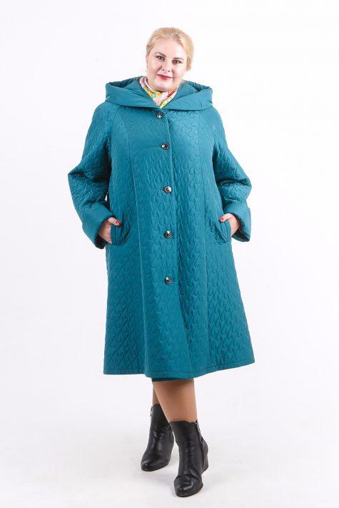Длинное стеганное пальто капюшоном, цвет бирюзовый в интернет-магазине Фабрики Тревери