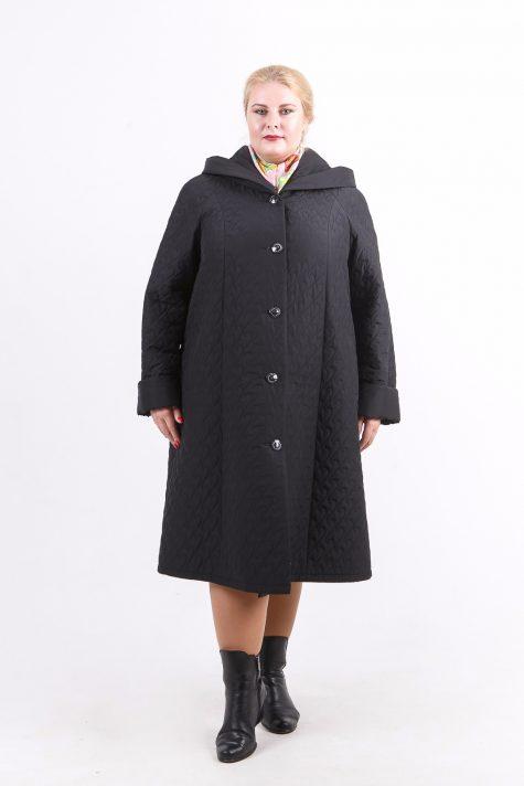 Длинное стеганное пальто капюшоном, цвет черный в интернет-магазине Фабрики Тревери