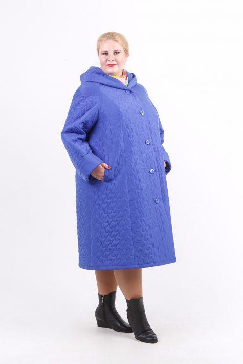 Длинное стеганное пальто капюшоном, цвет голубой в интернет-магазине Фабрики Тревери