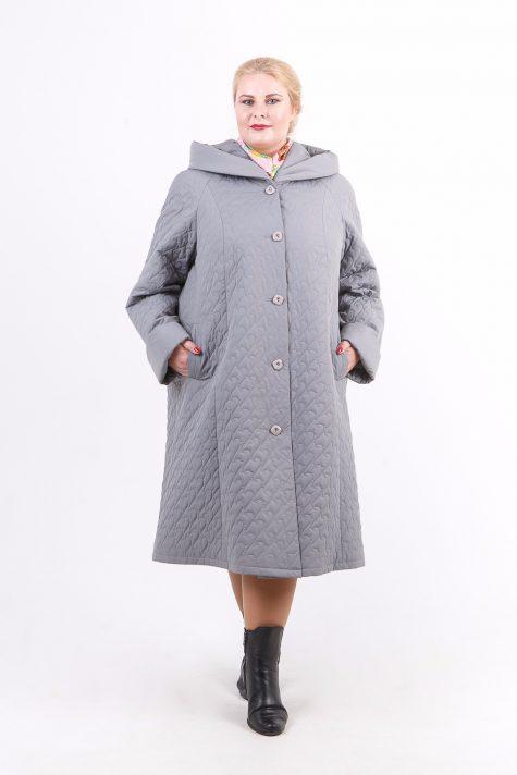 Длинное стеганное пальто капюшоном, цвет серый в интернет-магазине Фабрики Тревери