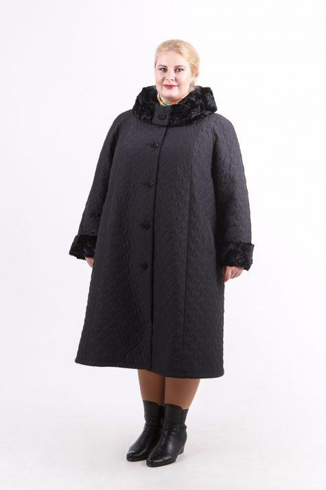 Длинное стеганное пальто с капюшоном, цвет черный в интернет-магазине Фабрики Тревери