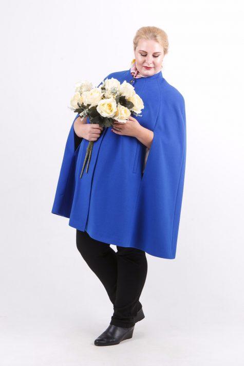 Кейп из драпа с воротником стойка, цвет голубой в интернет-магазине Фабрики Тревери